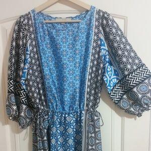 Loft Ocean Mosaic Tassel Dress